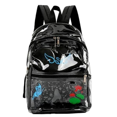 Transparent Waterproof Travel Backpack with Colored Back