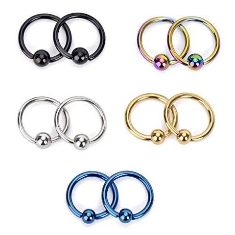 5 Pair Set 16G 316L Surgical Steel Captive Bead Nose Ring