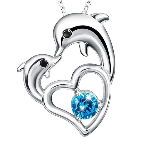 Mom and Daughter Dolphin Heart Blue Crystal Sterling Silver Necklace