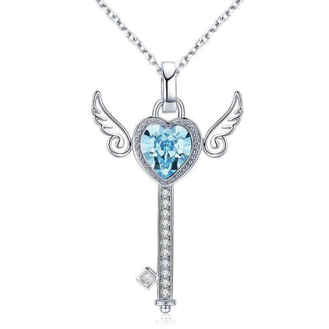 Winged Key Blue Heart-Cut Crystal Sterling Silver Necklace