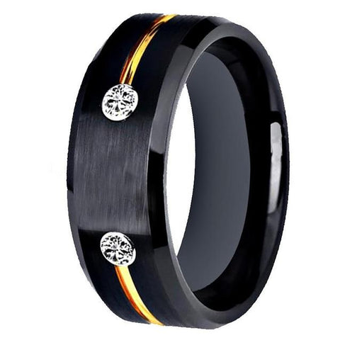 Crystal Flushed Gold & Black Tungsten Promise Ring