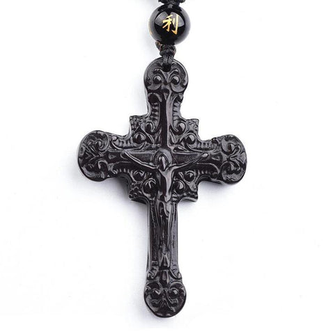 Medieval Black Crucifix Obsidian Bead Necklace