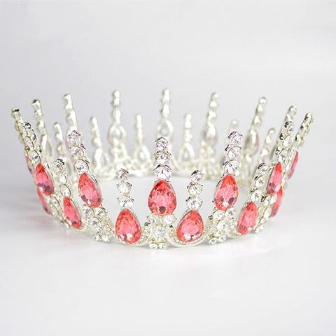 Multi-crystal Silver Queen Wedding Crown