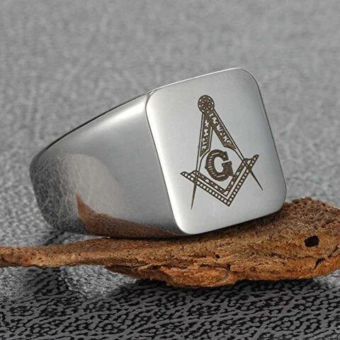 Stainless Steel Silver Toned Masonic Ring for Men and Women
