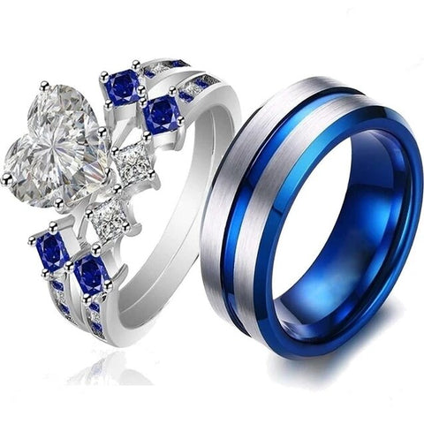 Modern Blue & White Zirconia Stainless Rings Set