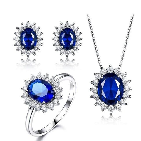 3PC Royal Blue Halo Setting Sterling Silver Jewelry Set