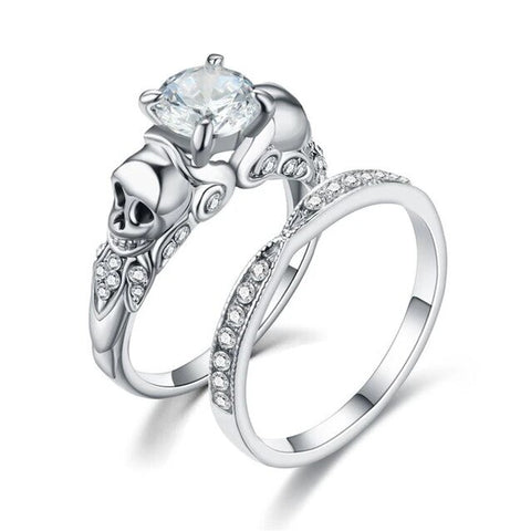 2PC Stainless Cubic Zirconia Pave Skull Engagement Ring