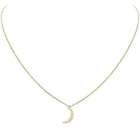 Petite Crescent Moon Necklace Curved Luna Chain Necklace