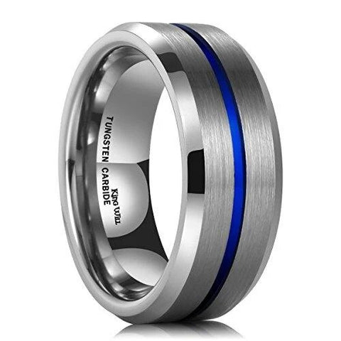 Silver Thin Blue Inlay Groove Matte Brushed Tungsten Carbide Wedding Ring