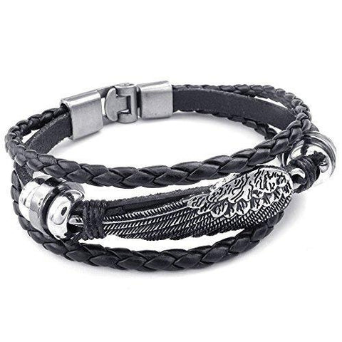Triple Band Stainless Wing Black Leather Bracelet