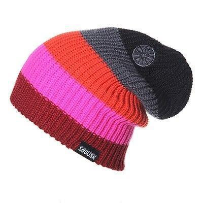Five Color Stripe Ribbed Thick Slouch Cap (5 Available Color)