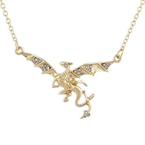 Gold-Tone Rhinestone Dragon Wings Gothic Pendant Necklace