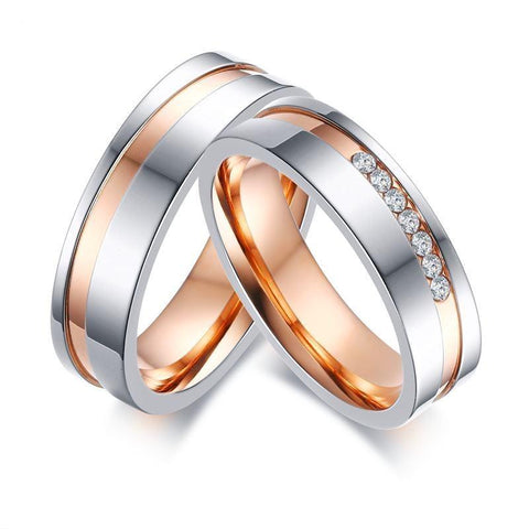 Silver & Rose Gold Off Center Channel Stainless Steel Ring Set
