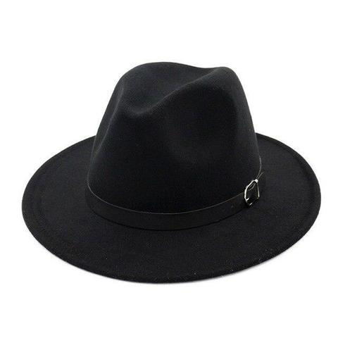 Front Pinched Leather Belt Colored Felt Hat (9 Available Colors)