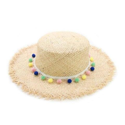 Summer Colored Balls Straw Hat (6 Available Colors)