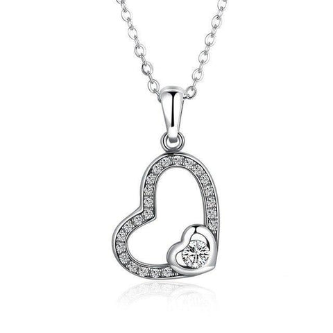 Double Heart Crystal Pave Open Heart Sterling Silver Necklace