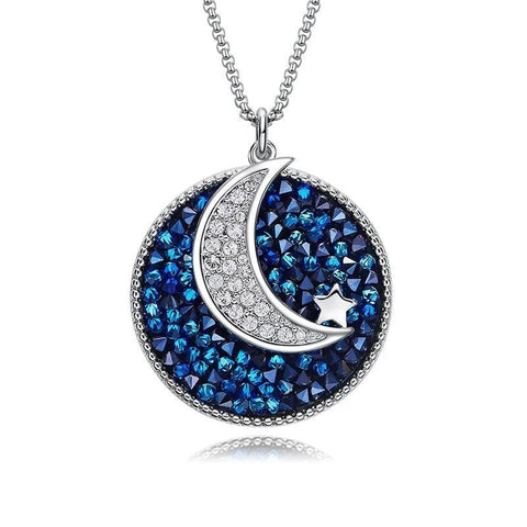 Silver-Tone Blue Crystal Crescent Moon Pendant Necklace