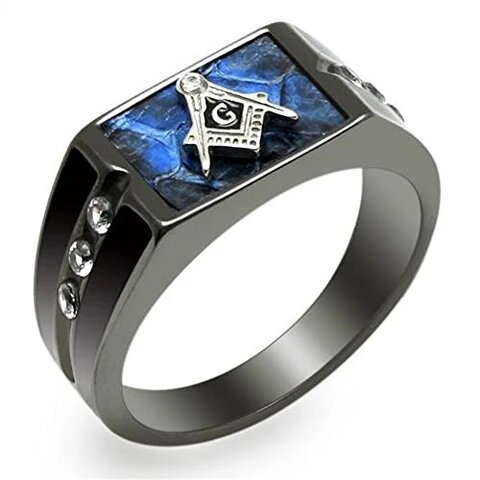 Stainless Steel Blue Agate Cubic Zirconia Masonic Ring