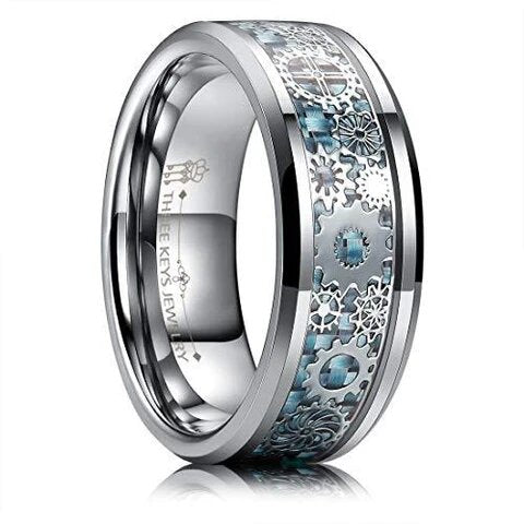 Steampunk Tungsten Gear Blue Carbon Fiber Inlay Wedding Ring