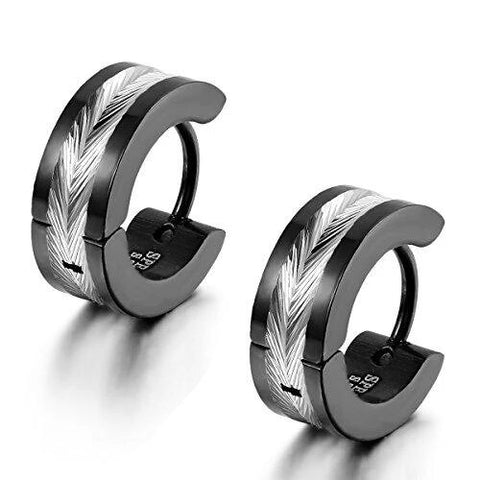 Men's Two-Tone Stainless Steel Stud Hoop Earrings