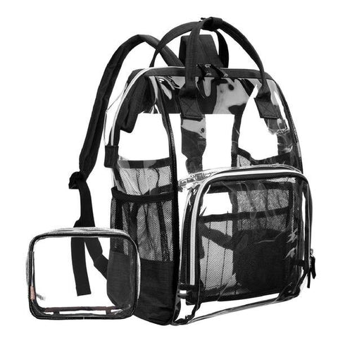 Clear Transparent PVC Multi-pockets School Travel Rucksack
