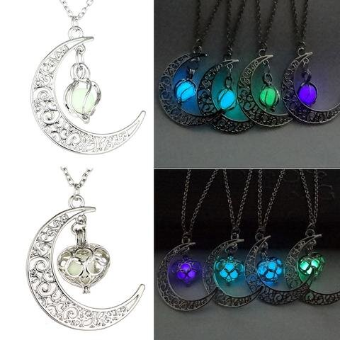Glow In The Dark Heart Moon Pendant Necklac