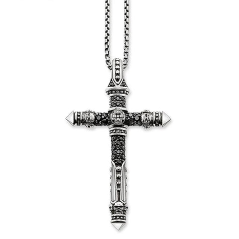 Ancestral Skull Cross Crystal Pavé Stainless Necklace