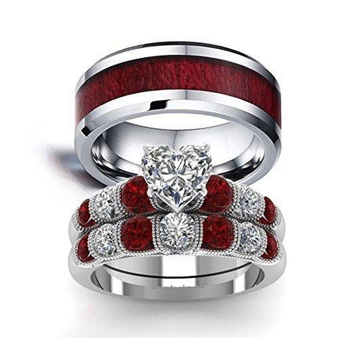 10K White Gold Wood & Red Royals Tungsten Ring Set
