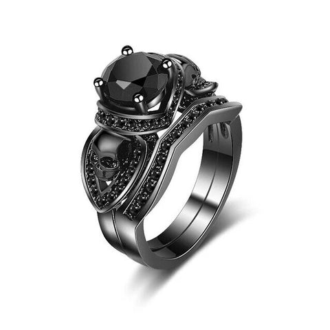 2PC Black Stainless Skull Ring Set