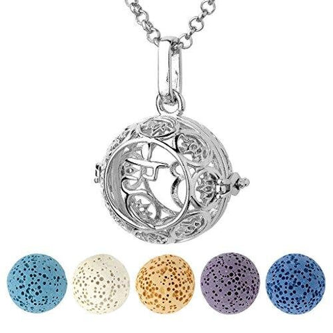 Aromatherapy Diffuser Silver Necklace Seven Chakras Locket Pen