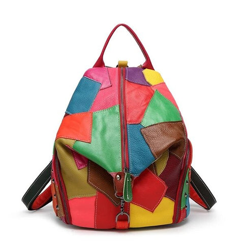Multicolor Black Genuine Leather Bag with Patchwork Design