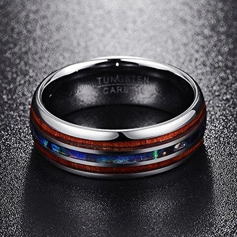 Silver Plated Tungsten with Abalone Shell and Hawaiian Koa Wood Ring