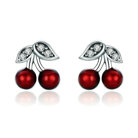 Sterling Silver White CZ Red Cherry Stud Earrings