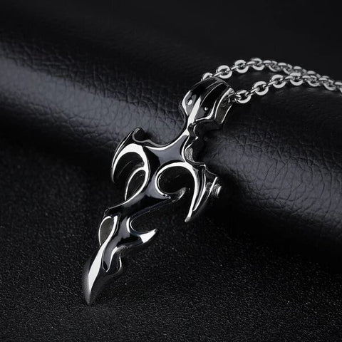 Men's Stainless Steel Cross Sword Pendant Necklace