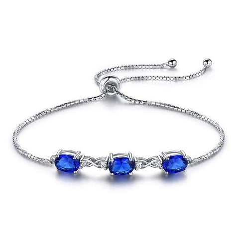 Simulated Blue Sapphire Three Stone Adjustable Bracelet