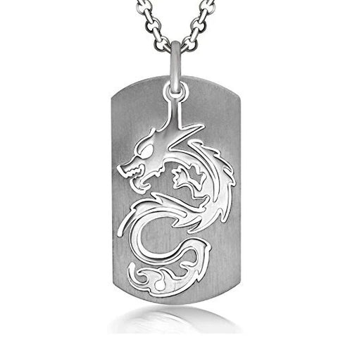 Dog Tag Stainless Steel Dragon Necklace Pendant for Men