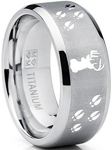 Sating Finish Deer Track Titanium Ring Wedding Band