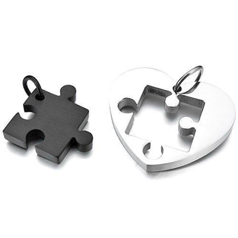 Black and Silver Forever Puzzle Heart Stainless Steel Necklace