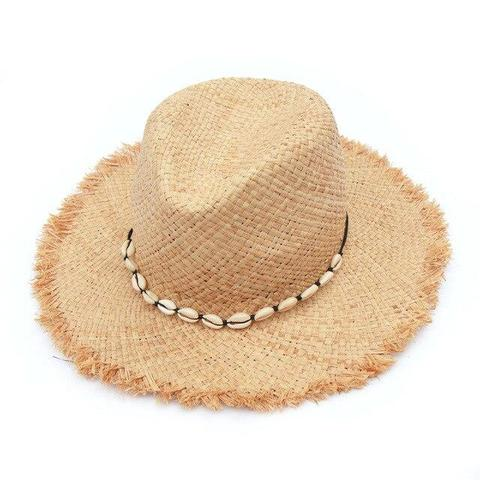 Summer Cowrie Shells Pinched Straw Hat (2 Available Colors)