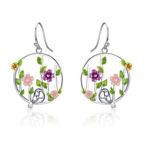 Colorful Floral Vines Sterling Silver Dangle Earrings