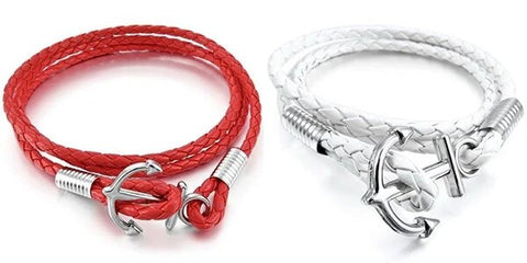 Red White Black Leather Bracelet Wrap