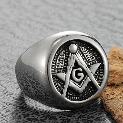 Stainless Steel Silver Tone with Gold Plated Freemason Symbol