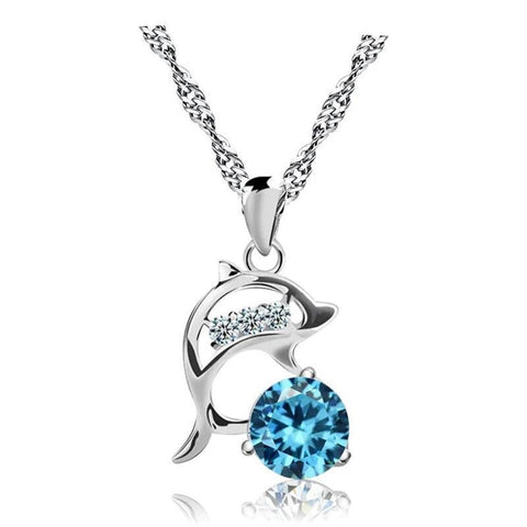 Silver-tone Simulated Crystal Dolphin Pendant Necklace