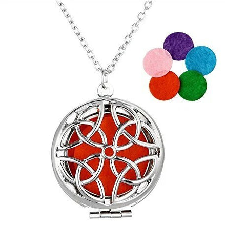 Silver Round Essential Oil Diffuser Locket Pendant Necklace