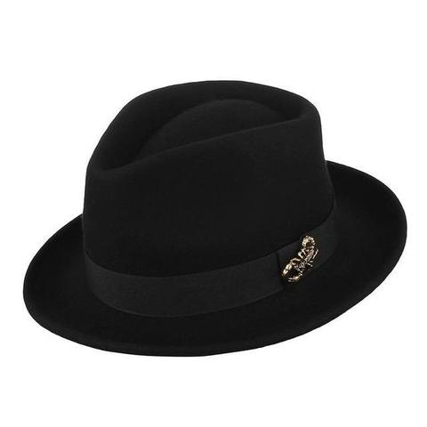 3D Scorpion Pin High Crown Black Felt Hat