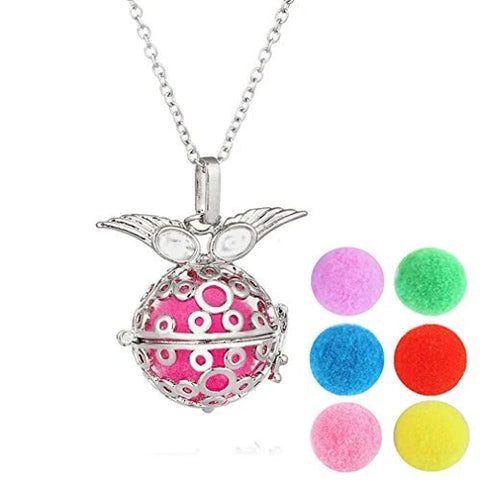 Silver Winged Ball Locket Pendant Aromatherapy Diffuser Necklace