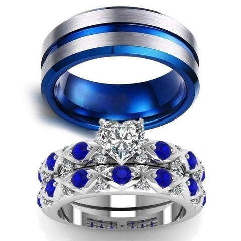 Regal Crisscross Blue & White Stainless Ring Set