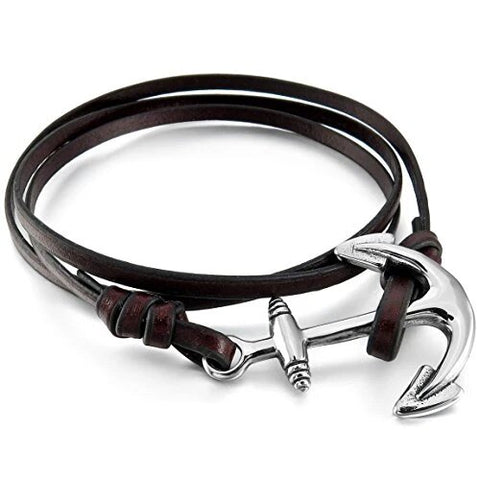 Silver and Brown Tone Leather Anchor Wrap