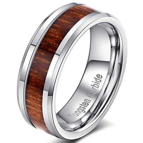 Tungsten Carbide with Wood Inlay and Beveled Edges Wedding Band