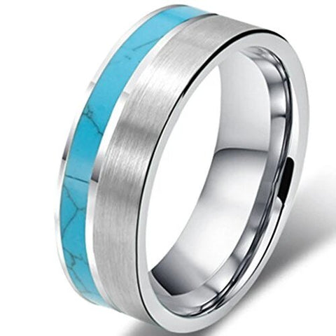 Matte Tungsten Turquoise Wedding Engagement Ring